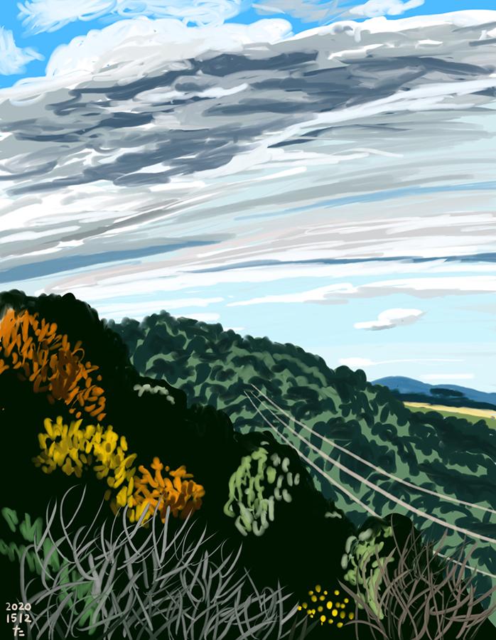 Dibujo de la luz y la sombra en la montaña