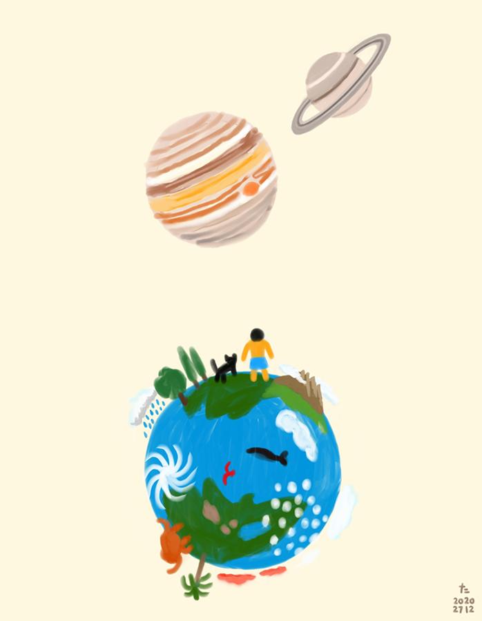 Ilustración de niño y gato negro mirando júpiter y Saturno desde la tierra