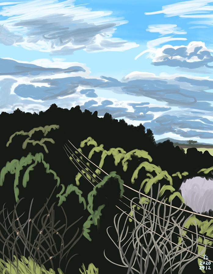 Ilustración de cielo azul con nubes de la montaña