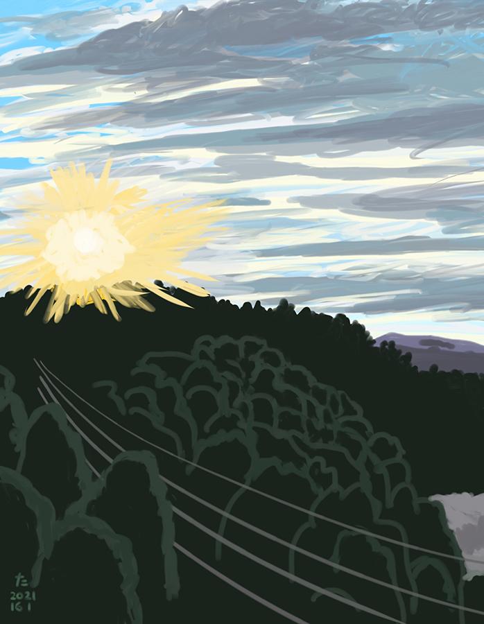 Ilustración dibujo de sol iluminando el cielo en montaña