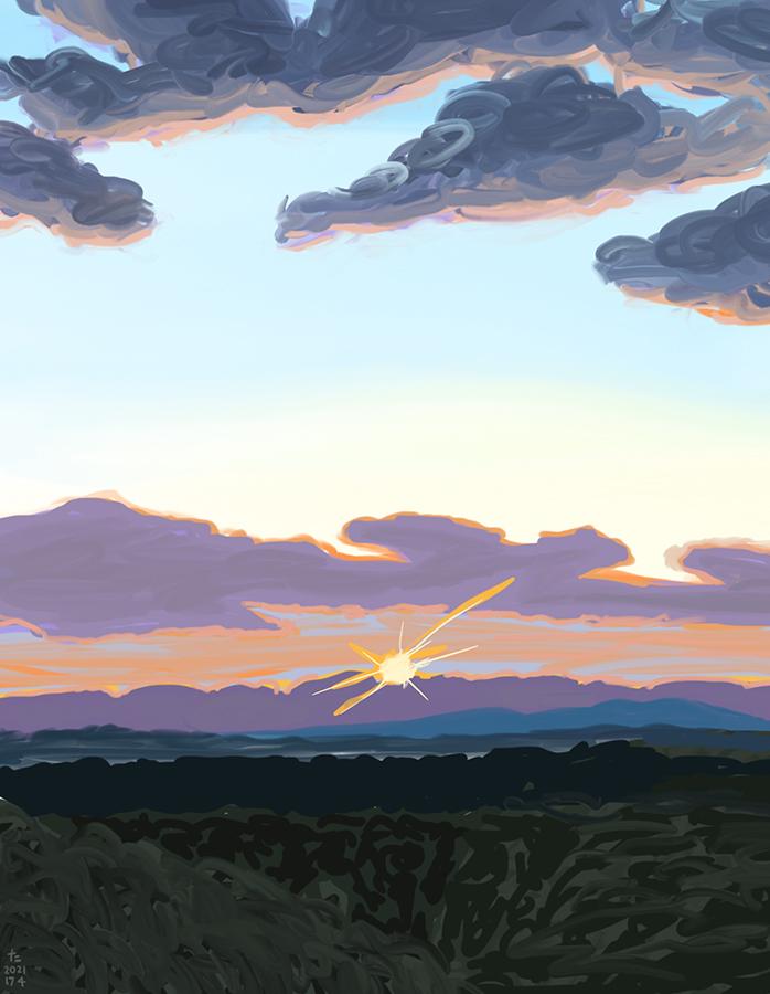 紫の雲がかかった日没の絵