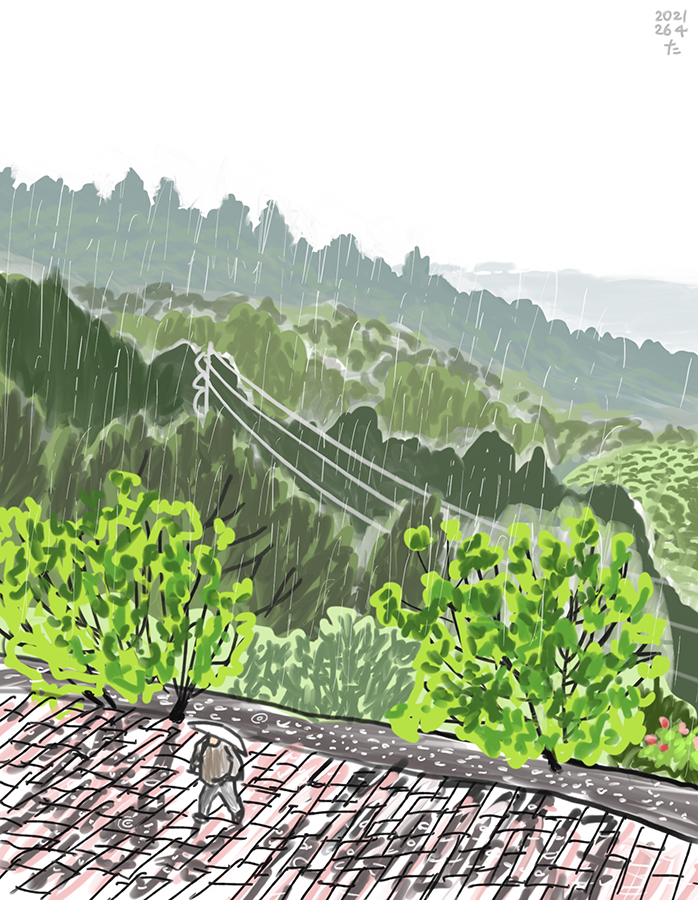 drawing of a rainy day in mountain countryside