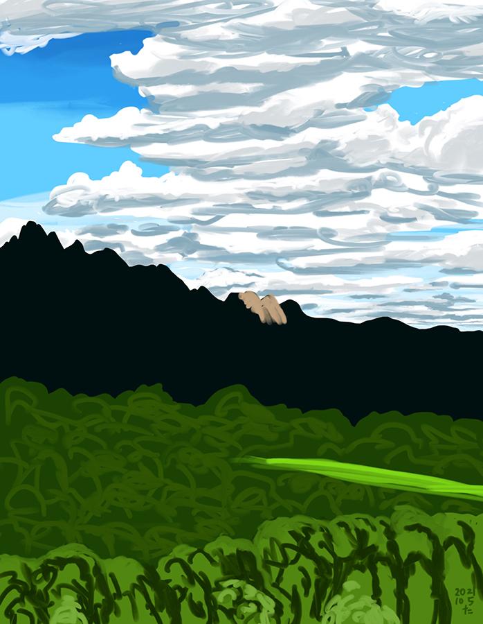 雲間から光が照らされたモンセラット山の絵