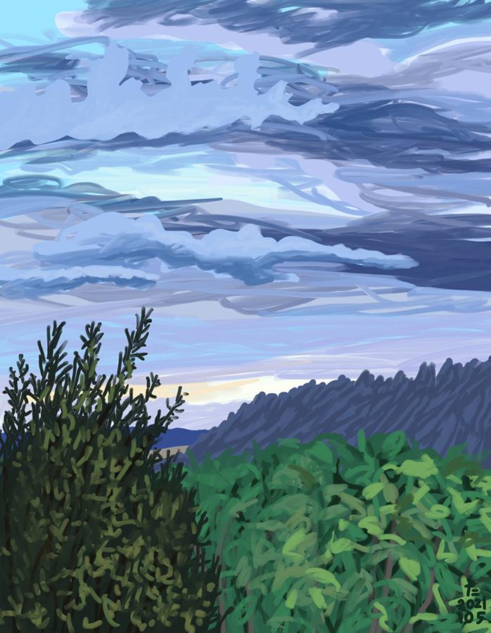 Pintura del monte Montserrat con nubes violetas