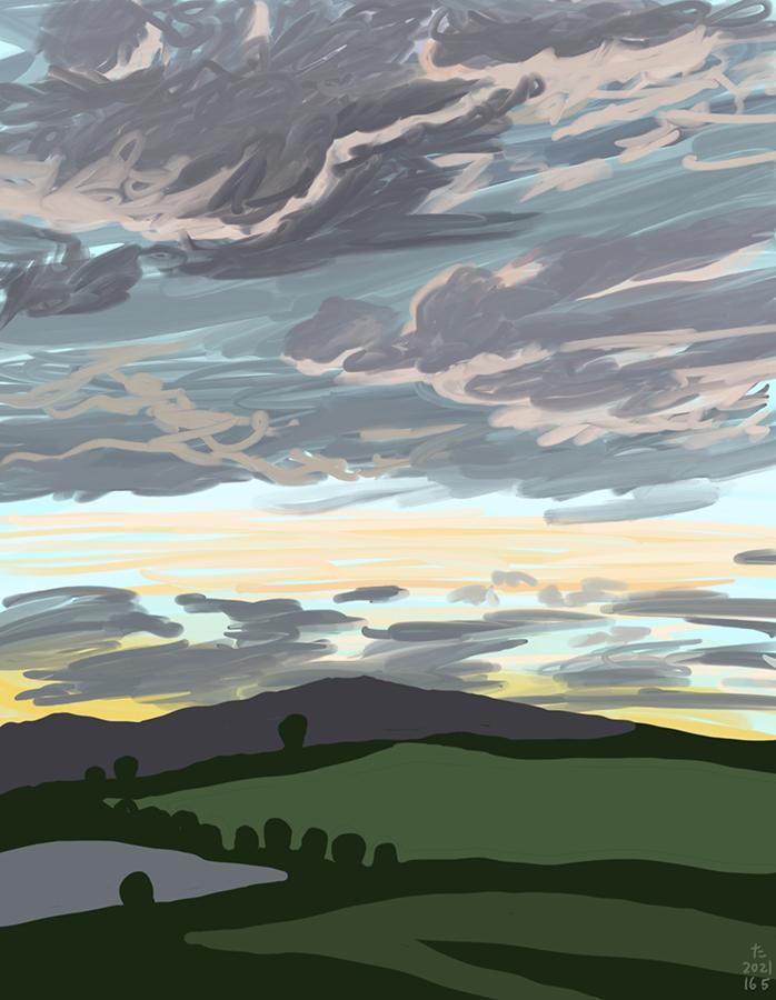 pintura de la puesta de sol en el campo parte uno
