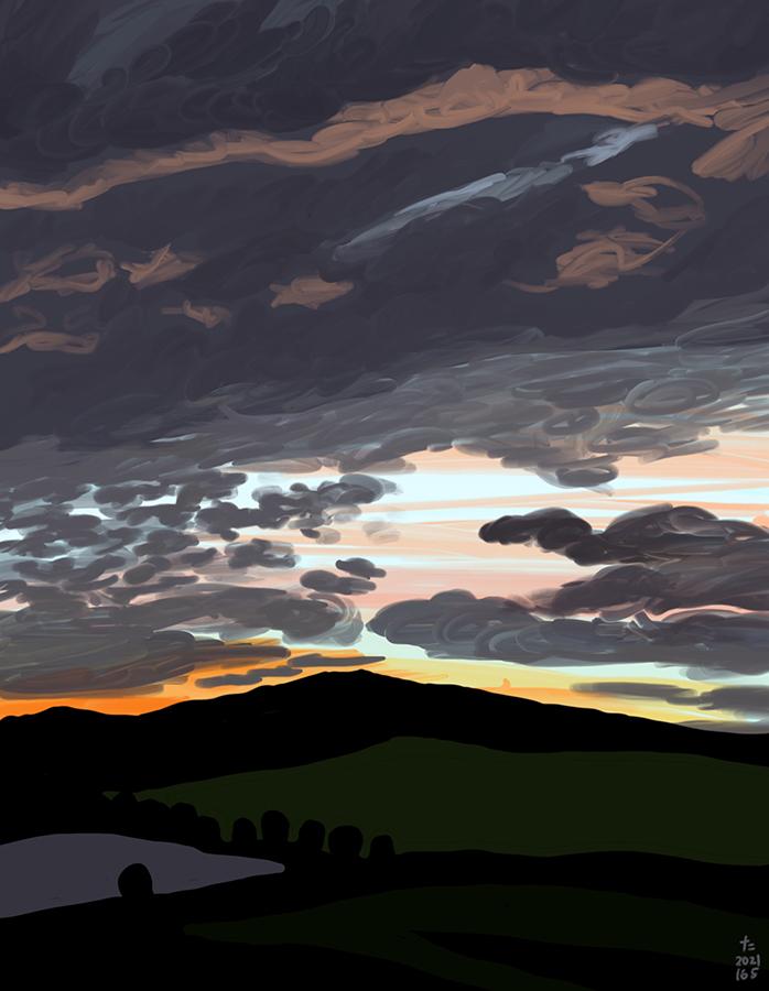 pintura de la puesta de sol en el campo parte dos