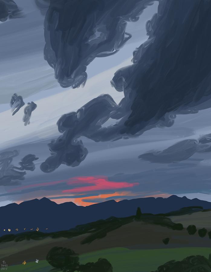 dibujo del anochecer donde se puede ver rosa y naranja