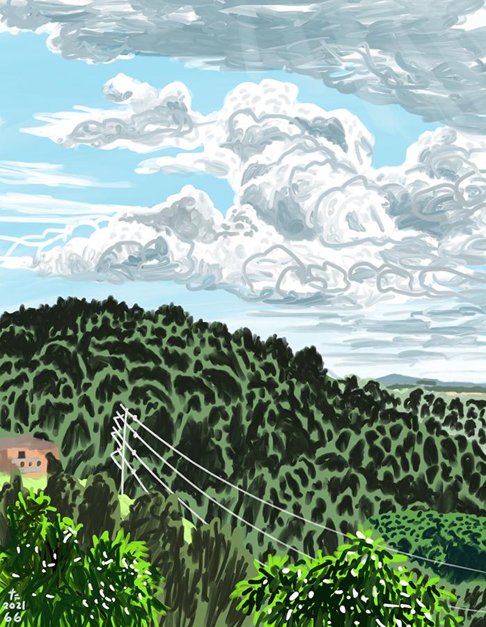 雲が大きく動く昼の山の絵