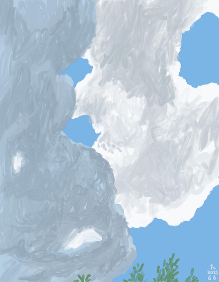 Overhead cloud painting
