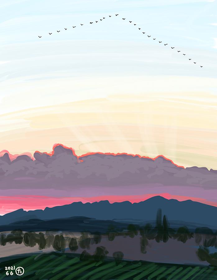夕暮れの山を鳥の群れが行く様子の絵