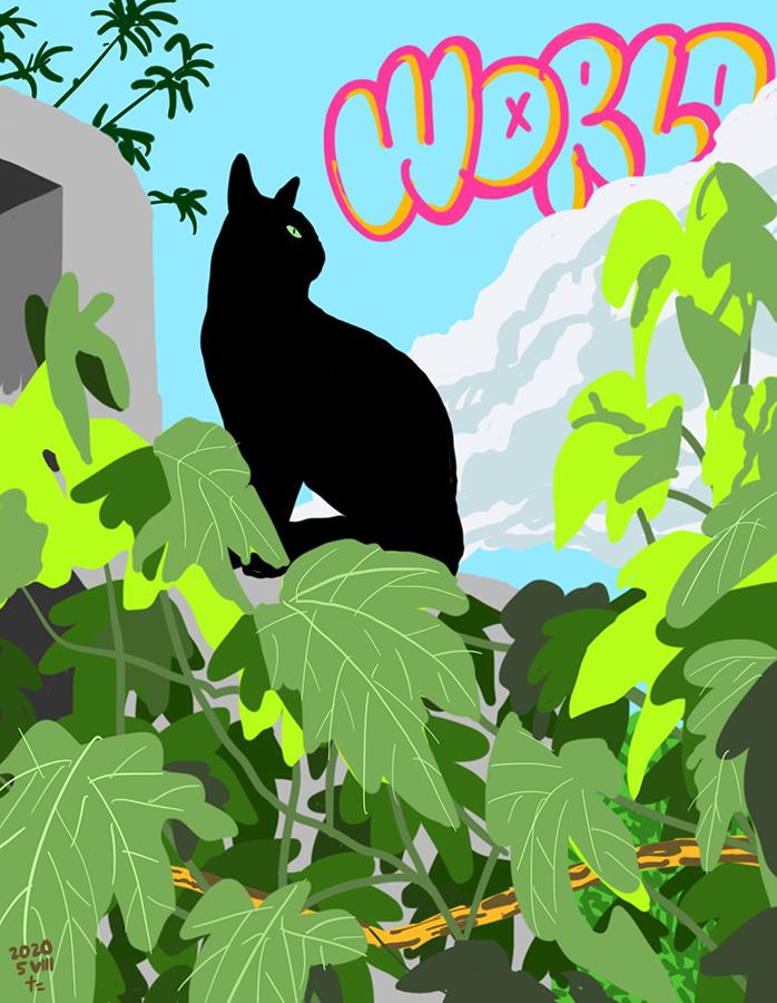 Dibujo de gato negro Gigi con las nubes de verano