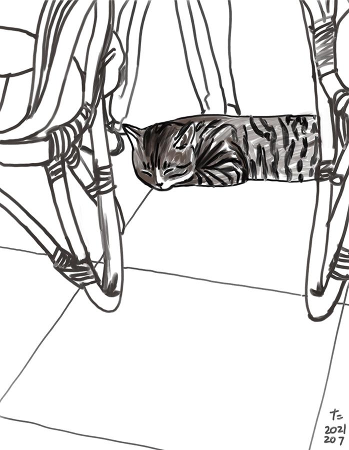 dibujo del gato Chairo detrás de las sillas
