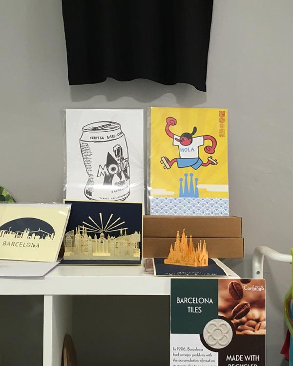 """Illustration prints by Asobōze in a shop in Born, Barcelona """"Ona Nova"""""""