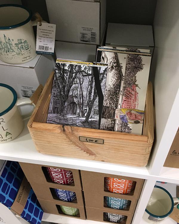 "post cards by Asobōze in a shop in Born, Barcelona ""Ona Nova"""