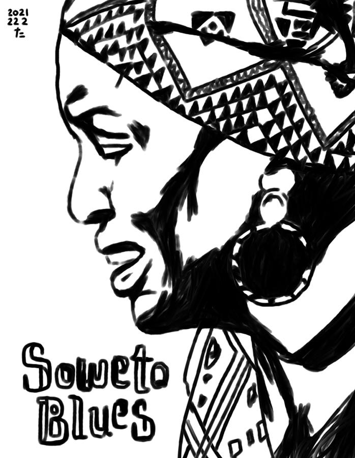 illustration of Miriam Makeba singing Soweto Blues
