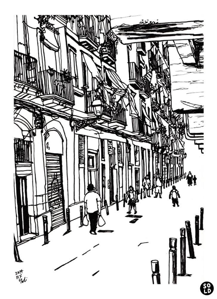 バルセロナのラバル地区のCarrer dels Salvadorを歩く人たち