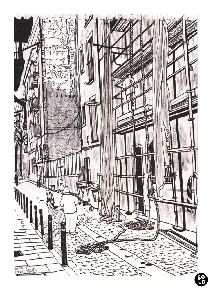 Los obreros en Carrer de Sant Bartomeu de barrio Raval de Barcelona