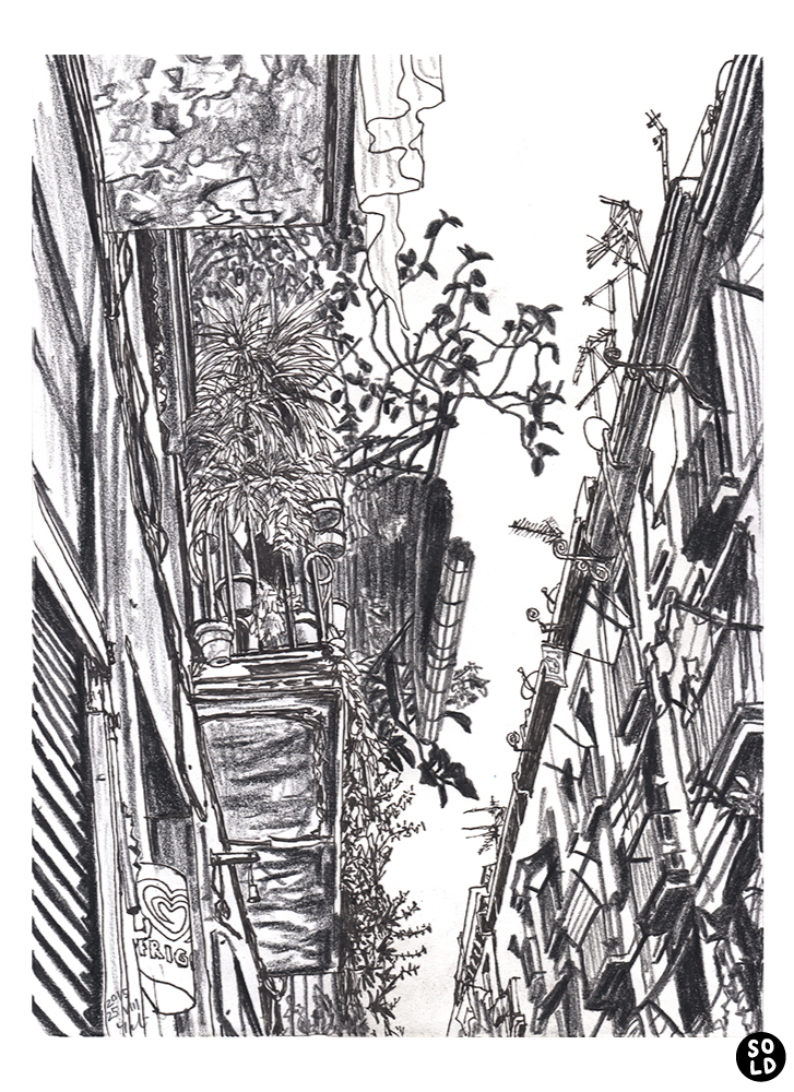 drawing of Balcony with plants in Raval street in Barcelona