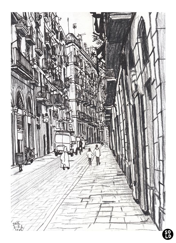 バルセロナのラバル地区のCarrer de la Llunaを行く人達のイラスト