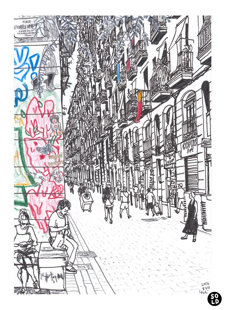 dibuix de la Gent en Carrer Joaquín Costa i Plaça d'Emili Vendrell a Raval de Barcelona
