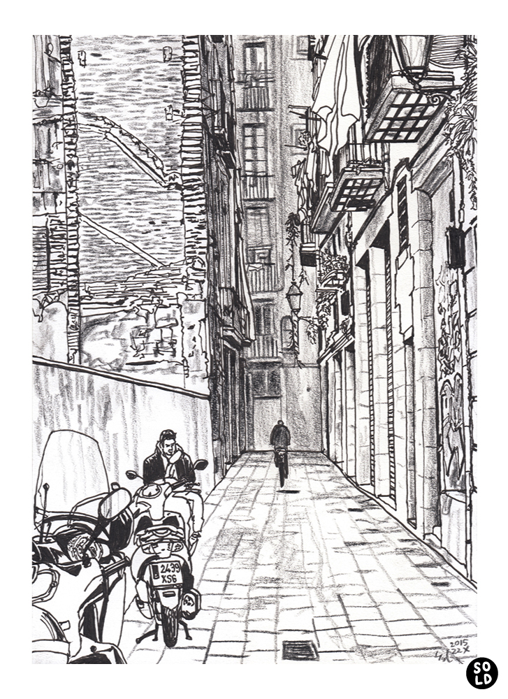 Dibujo de motos aparcados en Carrer d'En Boquer en Barcelona