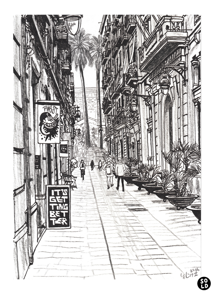 Drawing of two palm trees seen from Carrer del Notariat in Barcelona
