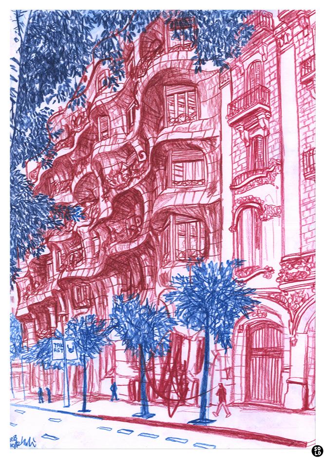 バルセロナのガウディ設計カサ・ミラの赤い絵