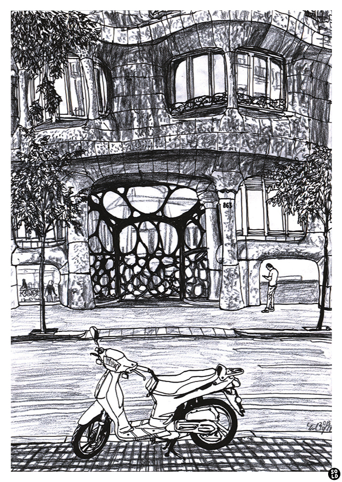 Drawing motorbike in front of uniquely designed iron gate and rugged stone walls of Antoni Gaudí's La Pedrera in Barcelona