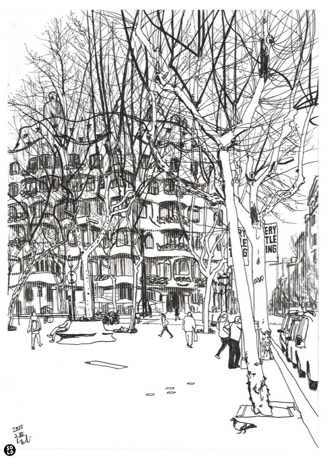 Illustration of La Pedrera designed by Antoni Gaudí seen from Passeig de Gràcia in Barcelona