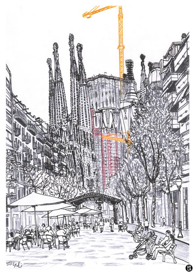 Ilustración dibujo de Sagrada Família por Antoni Gaudí vista desde Avenida Gaudí en Barcelona