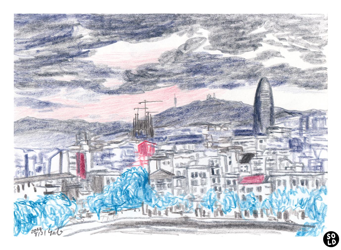 Illustration of Sagrada Família and Torre Agbar seen from ILUNION Barcelona hotel in Poblenou neighborhood in Barcelona