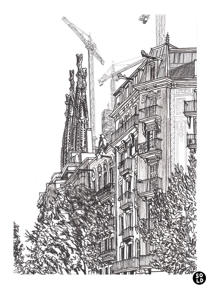 Illustration of Sagrada Família by Antoni Gaudí seen from Carrer de la Marina in Barcelona