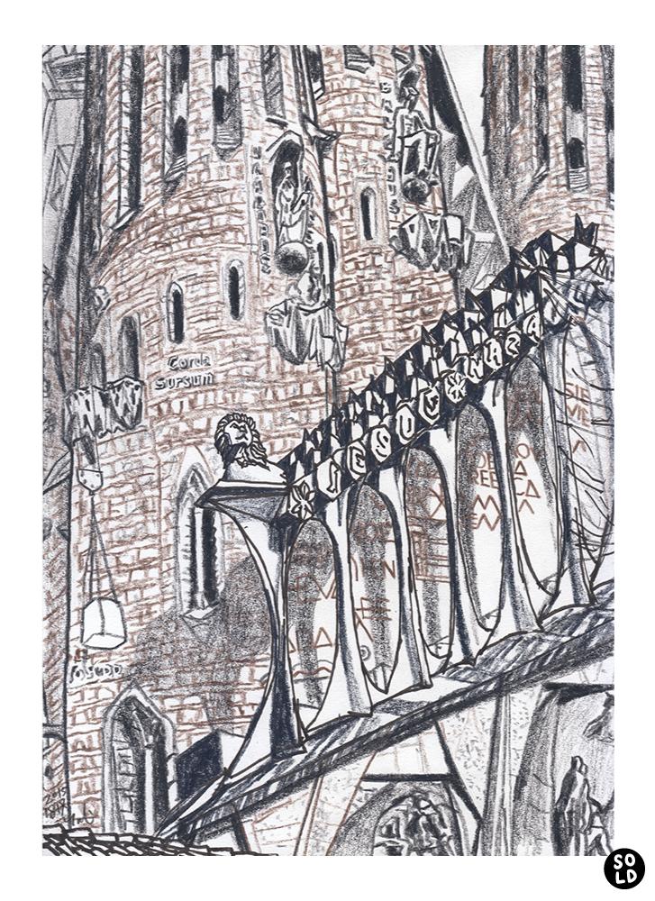 Ilustración de la estatua de león en la fachada de la Sagrada Familia por Antoni Gaudí en Barcelona