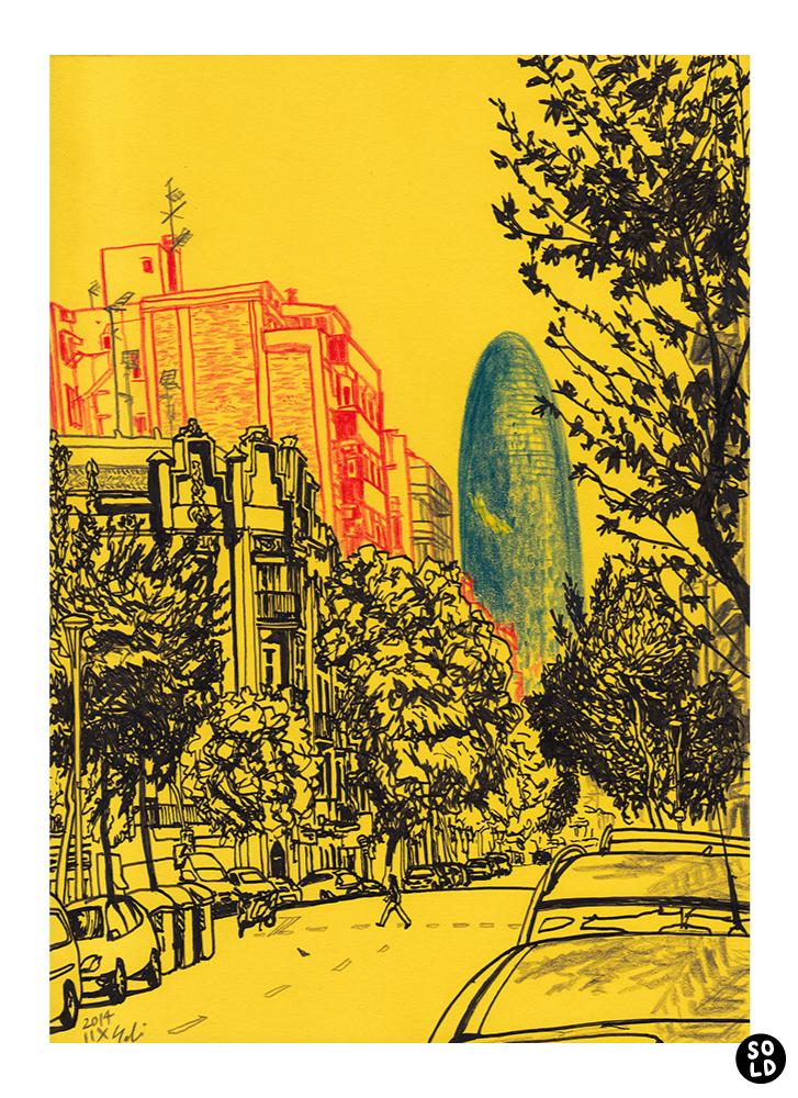 Dibujo de Torre Agbar desde Carrer de la Independència en Barcelona dibujado en papel amarillo