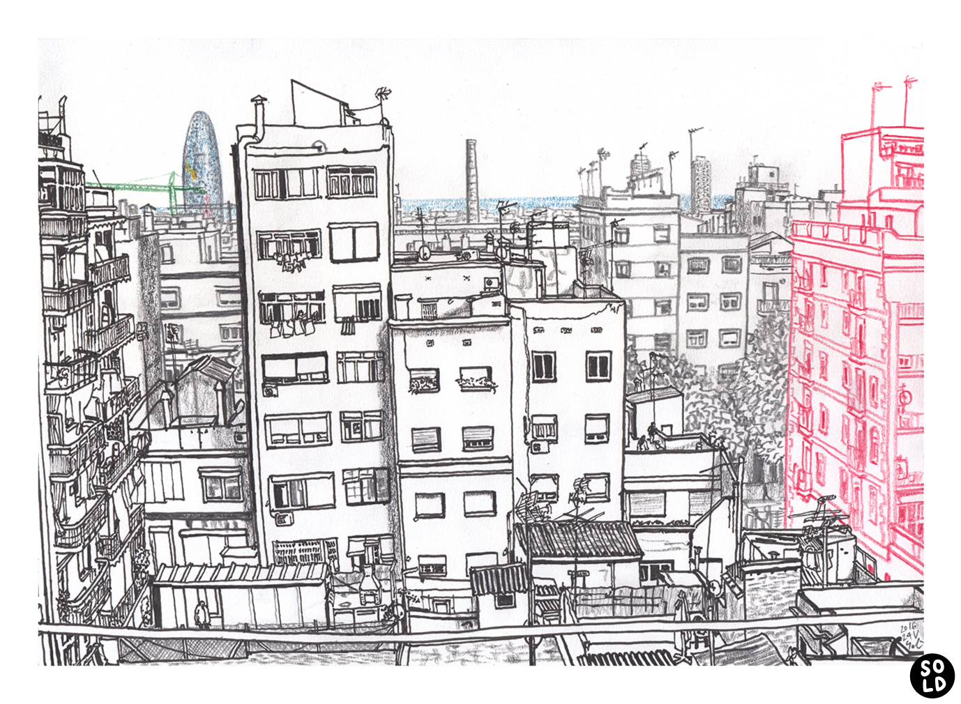Illustration of Torre Agbar seen from the flat in Carrer de Sant Antoni Maria Claret in Barcelona