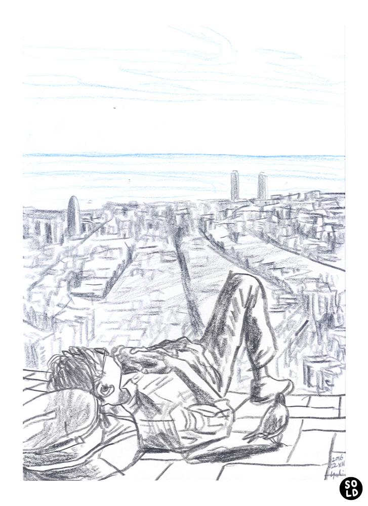 バルセロナを眼下に望みながら昼寝する丹尾友紀に近づく鳩の絵