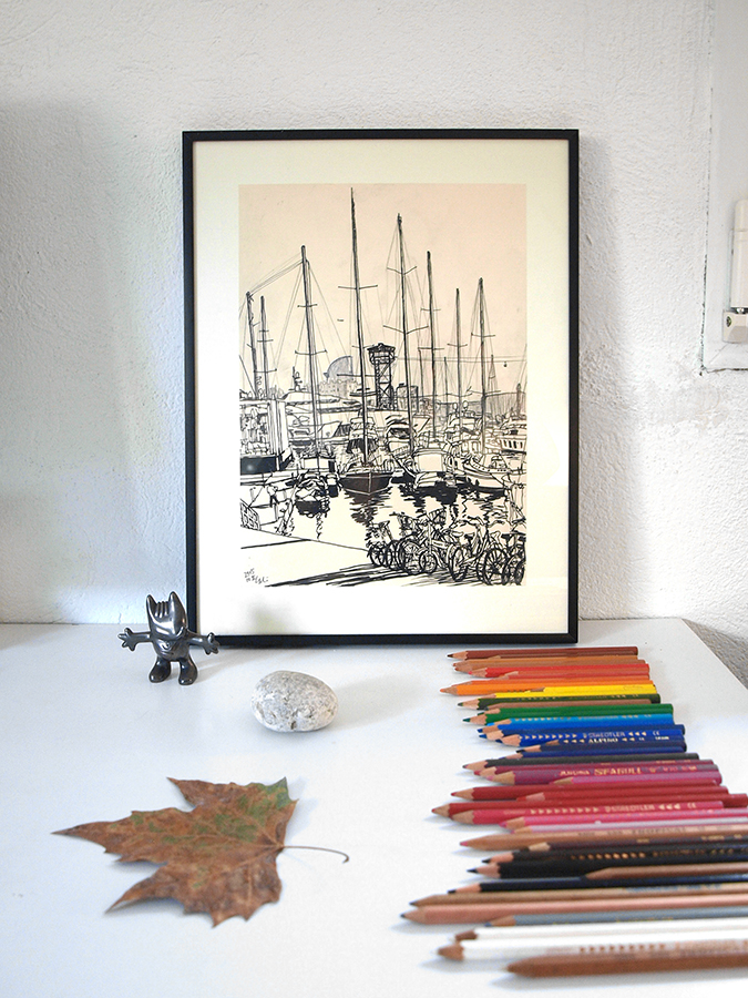 """drawing named """"The Smell of The Sea"""" with colourful pencils and cobi mascot figure"""